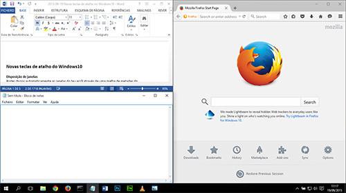Novo no Windows10: Disposição de janelas