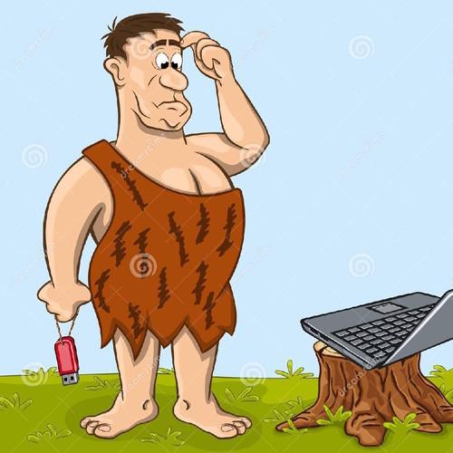 o-homem-primitivo-está-olhando-o-portátil-558116