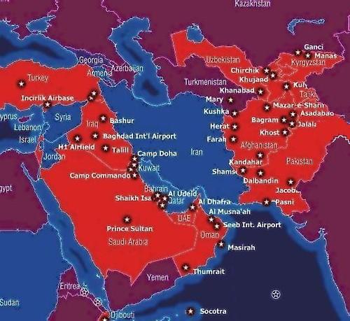 Mapa bases aliados e EUA Médio Oriente
