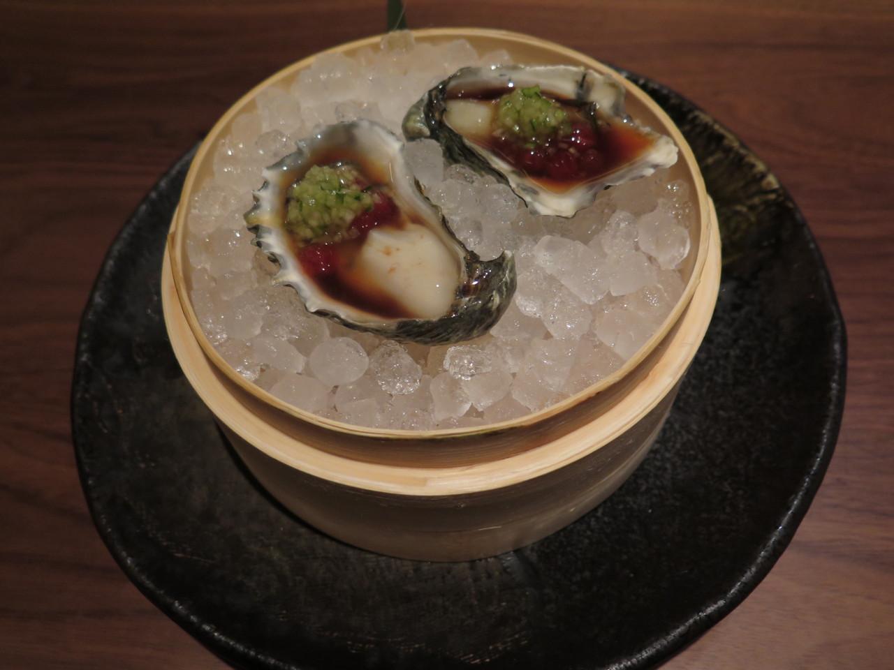 KUMAMOTO OYSTER ponzu watermelon pearls, cucumber mignonette