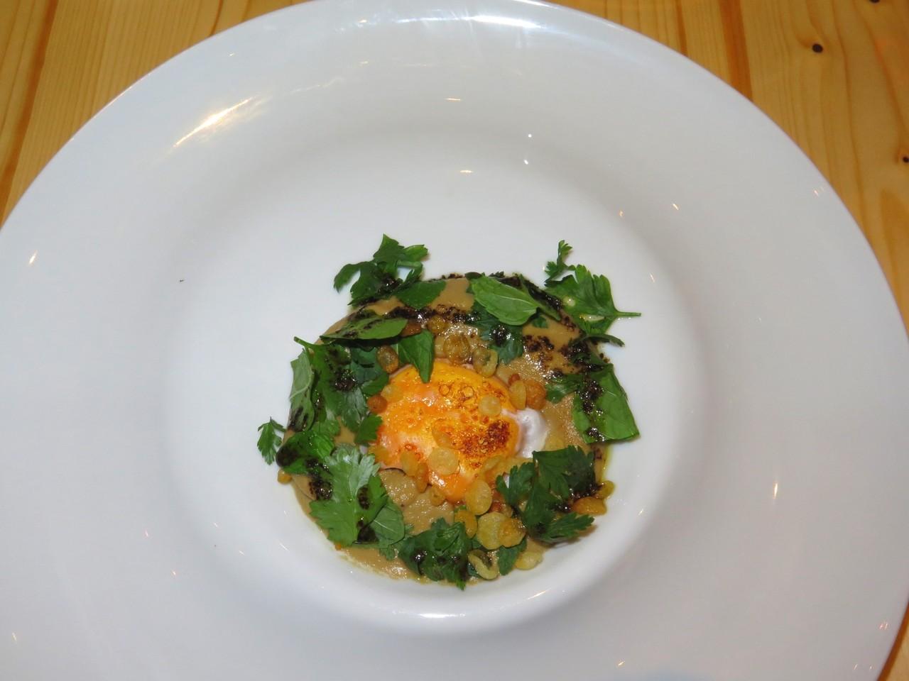 Puré de Beringela assada com gema de ovo