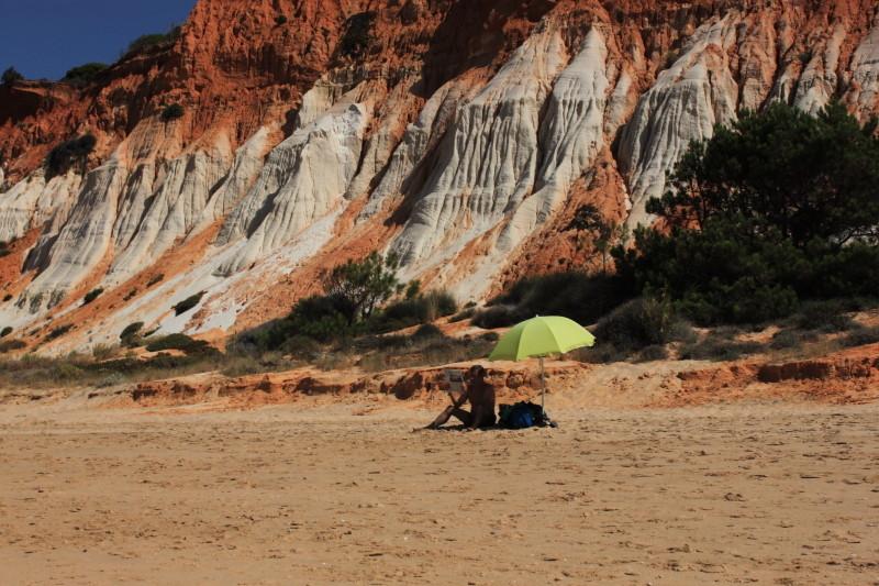 Homem que devorava livros lendo o jornal, Algarve — © 2014