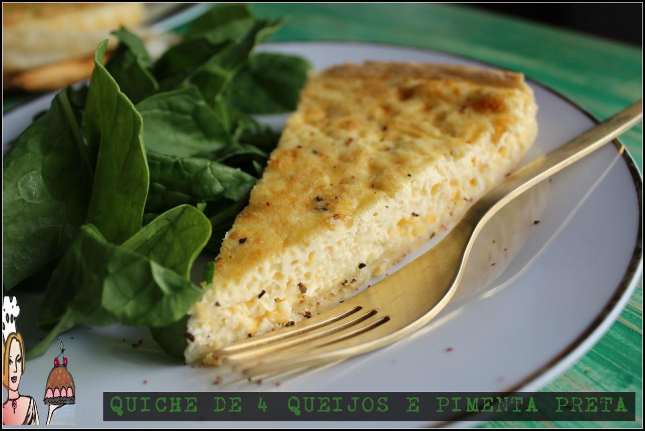Quiche de 4 queijos com pimenta preta