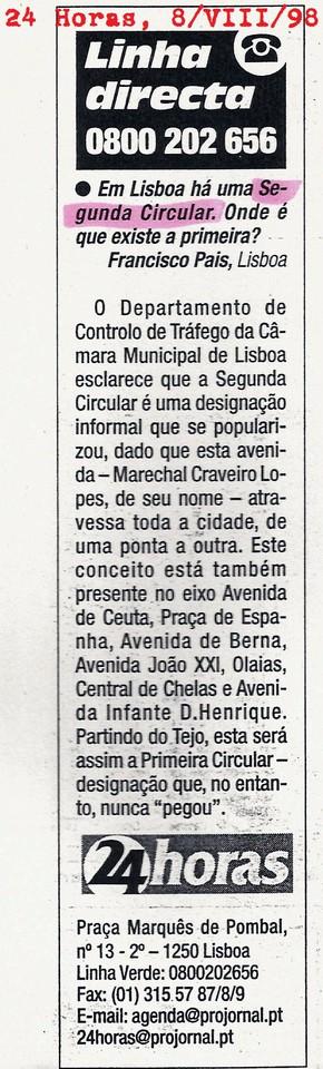 «Segunda Circular», 24 Horas,  08/VII/1998
