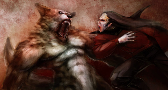 Vampire_werewolf_fight_by_mindsiphon.jpg