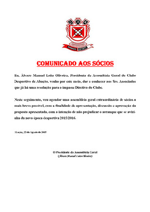 COMUNICADO AOS SÓCIOS - DIA 23 DE AGOSTO 2015 (1)