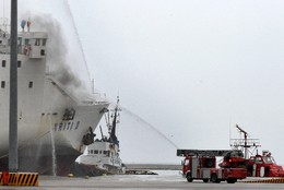 GREECE TRANSPORT FERRY FIRE