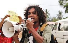 Protesto em frente da embaixada da Austrália