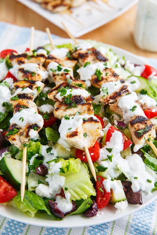 Grilled Chicken Souvlaki Salad with Creamy Feta an