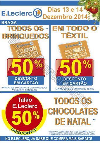 50% de desconto E-LECLERC Braga de 13 a 14 dezembr