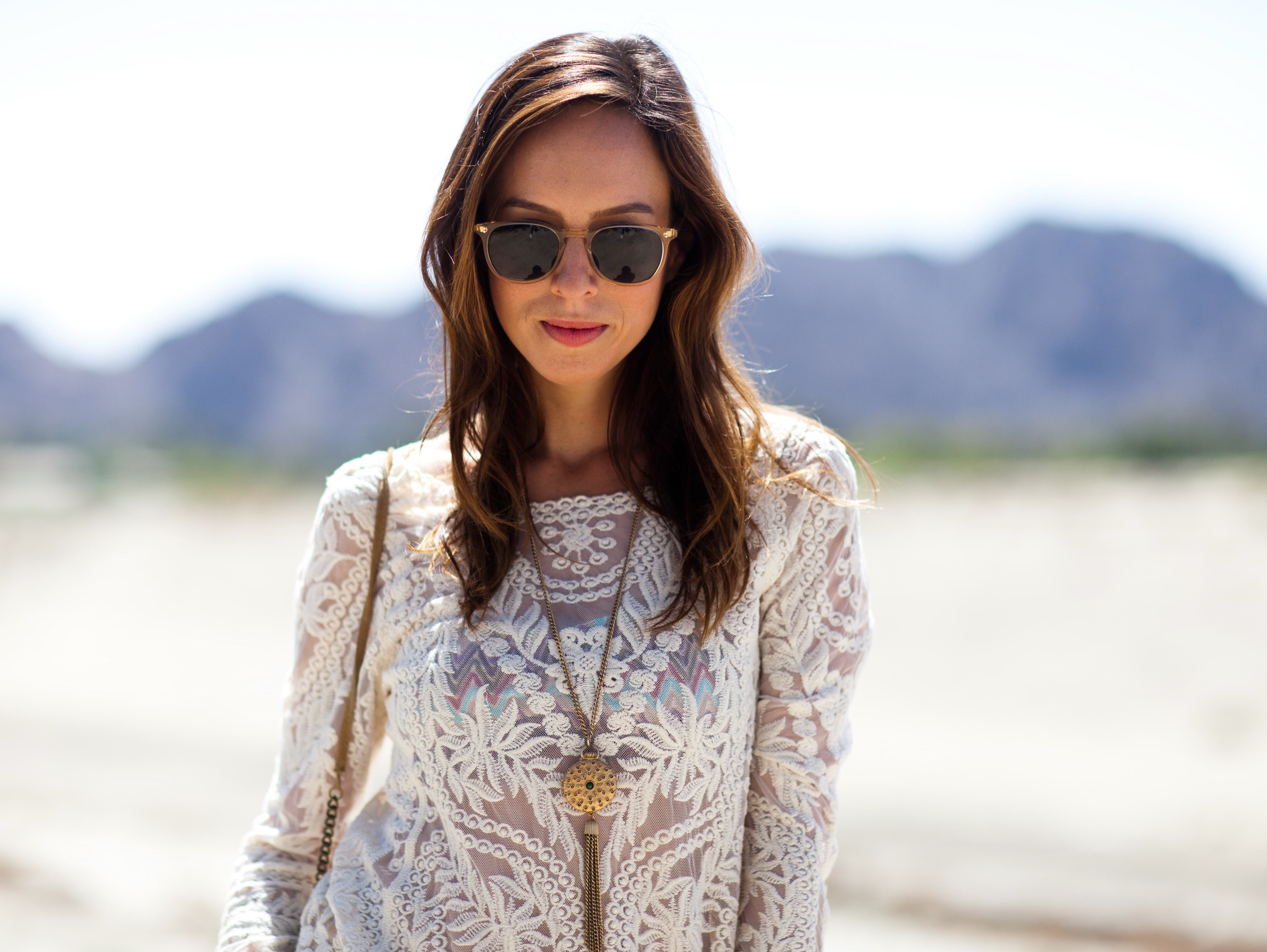 Coachella-Street-Style-Festival-Fashion-Express-lace-top-Citizens-of-Humanity-yellow-shorts-UGG-Australia-woven-wedge-locket-necklace-Garrett-Leight-sunglasses-hippie-chic-sheer